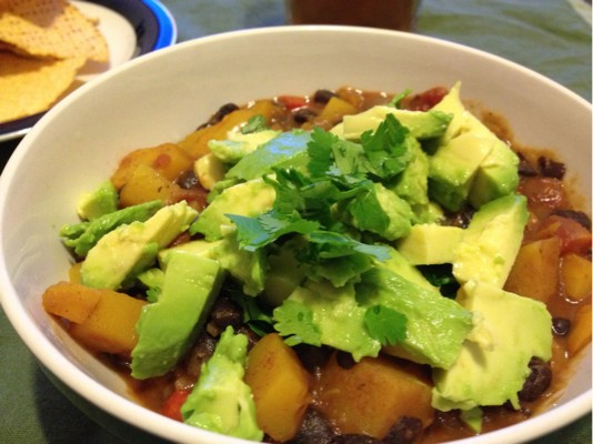 Butternut Squash Chipotle Chili with Avocado